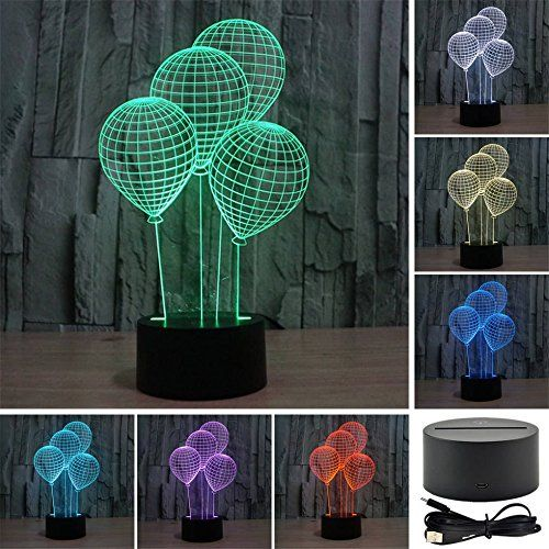 Balloon Shape 3d Night Light Touch Table Desk Lamp For Kids Bedroom Elstey 7 Colors Optical Illusi 3d Night Light Night Light Color Optical Illusions