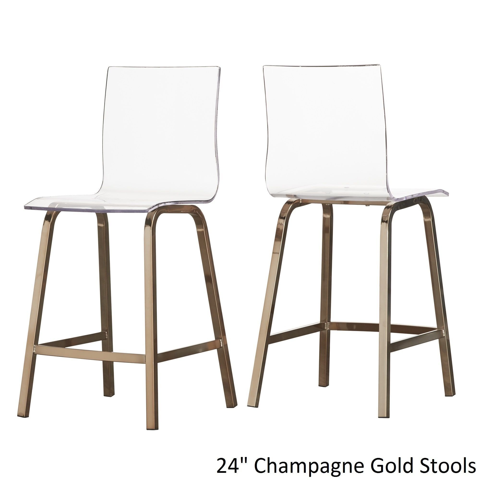 Miles Clear Acrylic Swivel High Back Bar Stools with Back by INSPIRE Q (Set  of 2) by INSPIRE Q