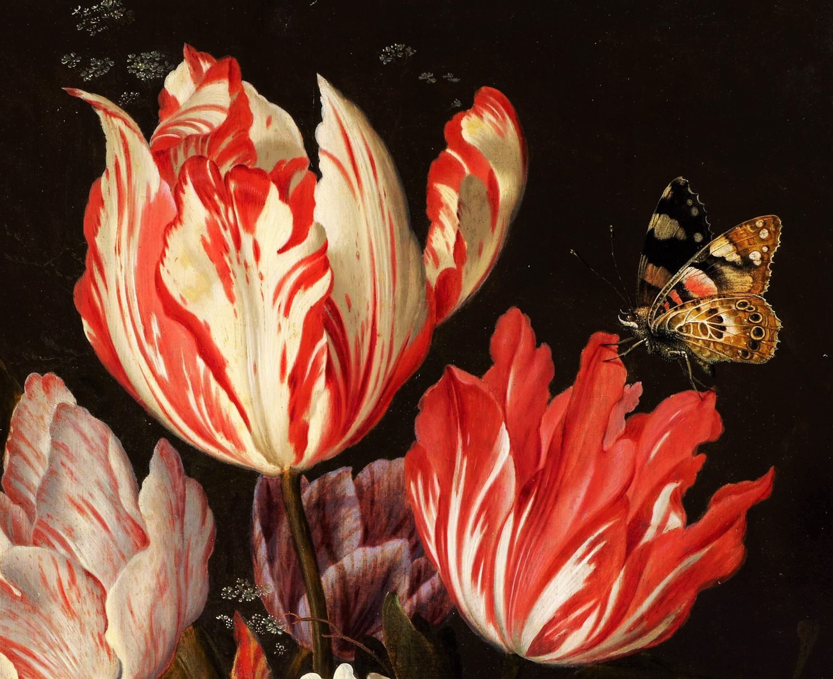 Detail Of Tulips And Butterfly A Still Life Of Tulips And Other Flowers In A Ceramic Vase Balthasar Van Der Ast Floral Painting Flower Painting Flower Art