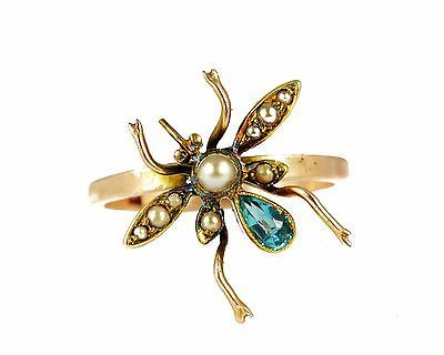 STYLISH ENGLISH VICTORIAN ANTIQUE 9K GOLD PEARL TOPAZ BUG INSECT SPIDER RING