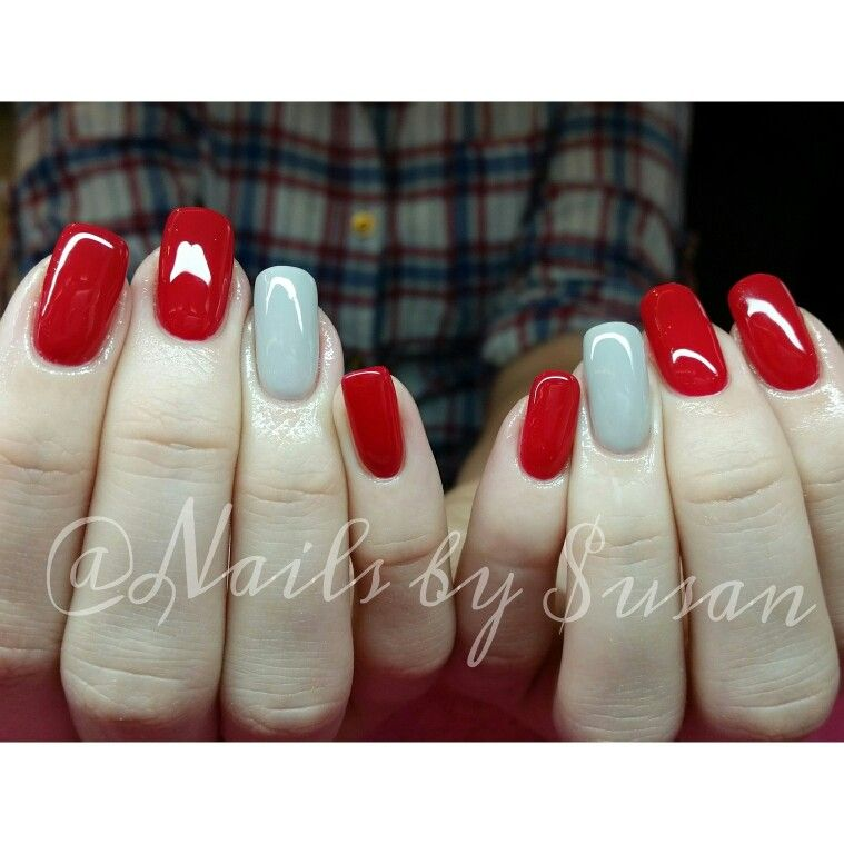 red and grey gel nails glitz