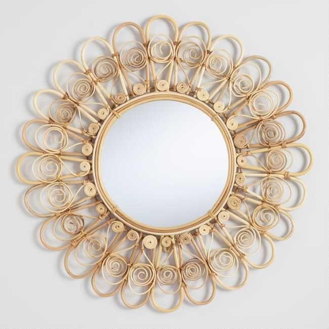 Large Rattan Flower Mirror