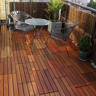Interlocking 8 Slat Design Eucalyptus Deck Tile 14228695