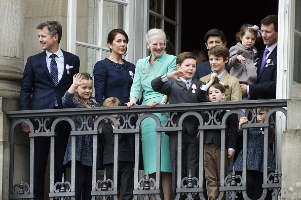 Queen Margrethe of Denmark flanked by Crown Prince Frederik Princess Isabella Crown Princess Mary Prince Vincent Prince Christian Prince Nikolai...