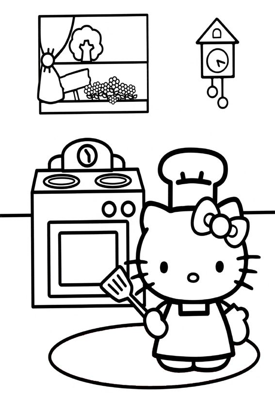 Hello Kitty Cooking Jpg 567 850 Hello Kitty Coloring Hello