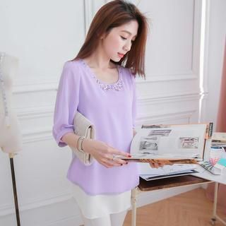 Elbow-Sleeve Layered Beaded Chiffon Top from #YesStyle <3 Tokyo Fashion YesStyle.com