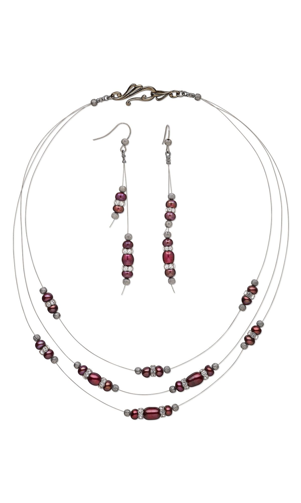 Jewelry Design - Triple-Strand Necklace and Earring Set with ...