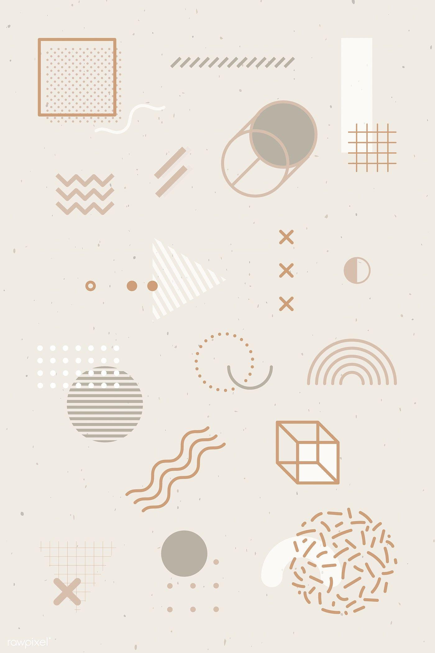 Download premium vector of Beige tone Memphis design element pack vector