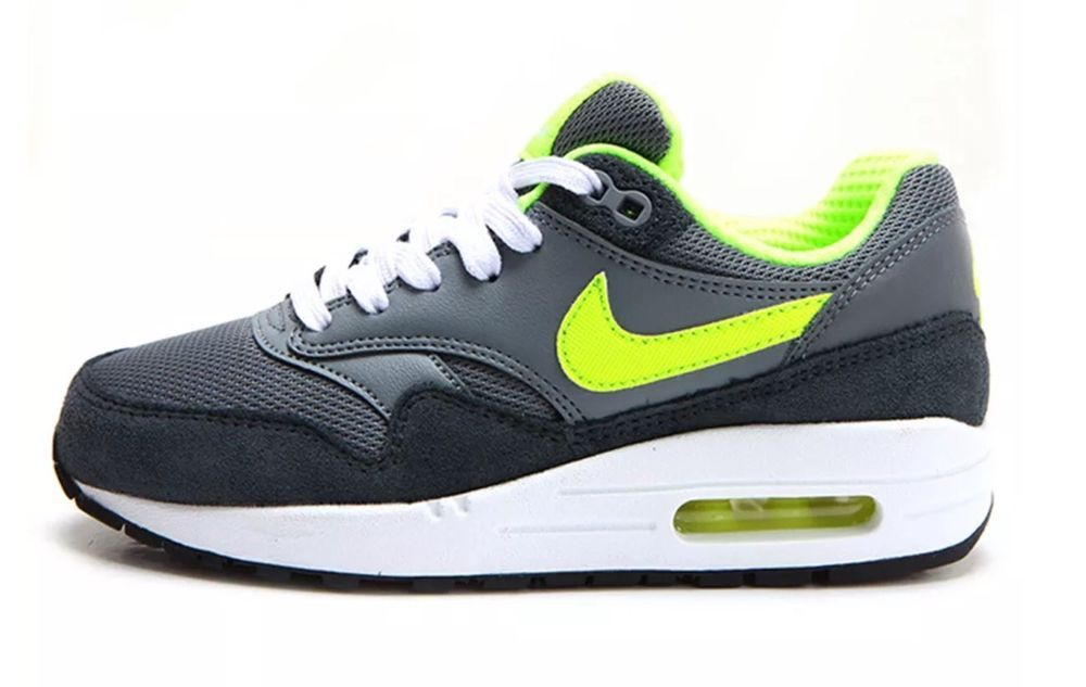 size 40 c4398 e42d5 Nike Air Max 1 Gs Big Kids 555766-045 Grey Volt Running Shoes Youth Size  5.5  Nike  Athletic