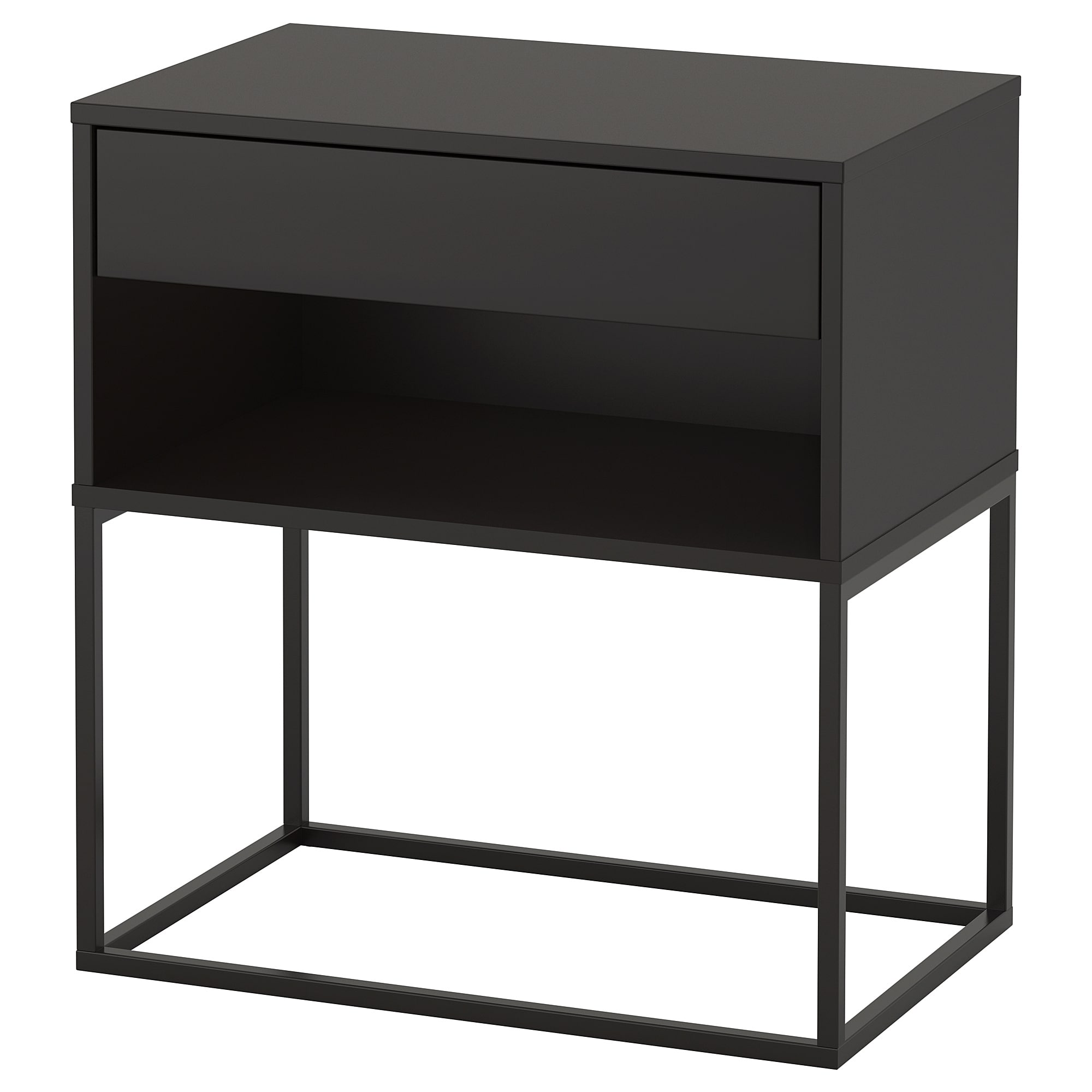 VIKHAMMER Bedside table, white, 4x4 cm - IKEA  Black bedside