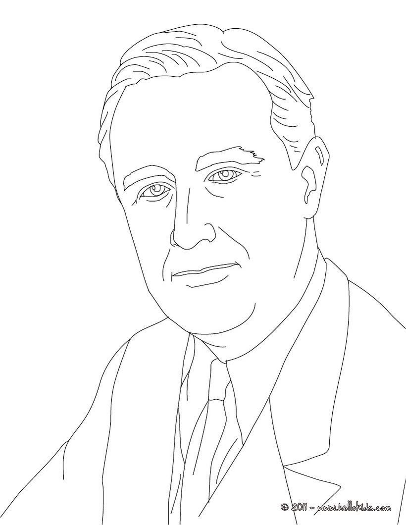 FDR Coloring Sheet (older kids can use pastels to practice