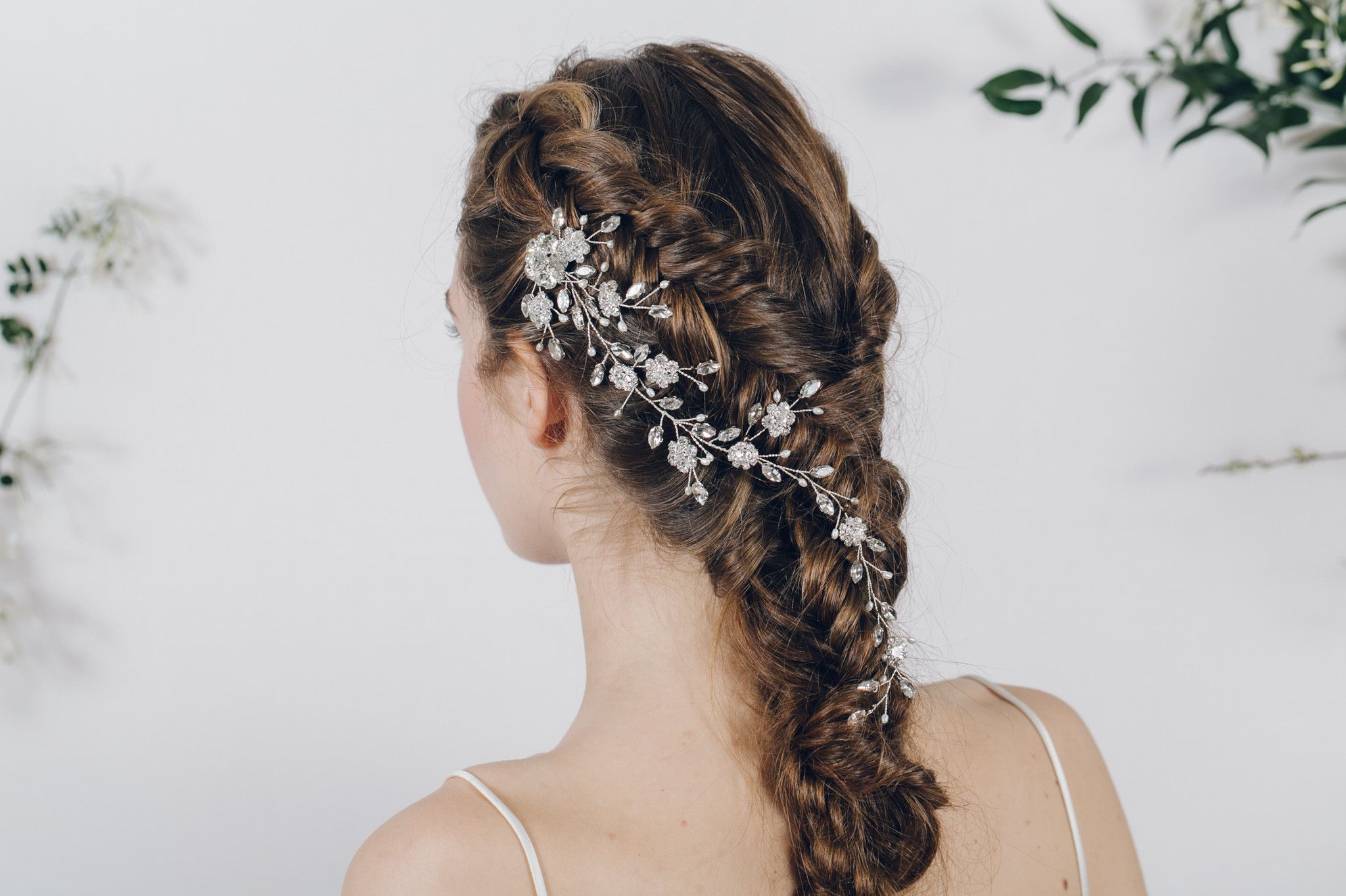 silver crystal and pearl trailing wedding hair vine comb