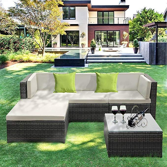 Amazon Com Ikayaa Outdoor Patio Furniture Set 5 Piece Wicker Rattan Garden Sectional Sofa With Soft Cushions Glass Coffee Table G Outdoor Sectional Furniture