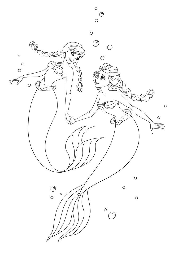 Anna And Elsa As Ariel I Lineart Elsa Coloring Pages Mermaid Coloring Ariel Coloring Pages