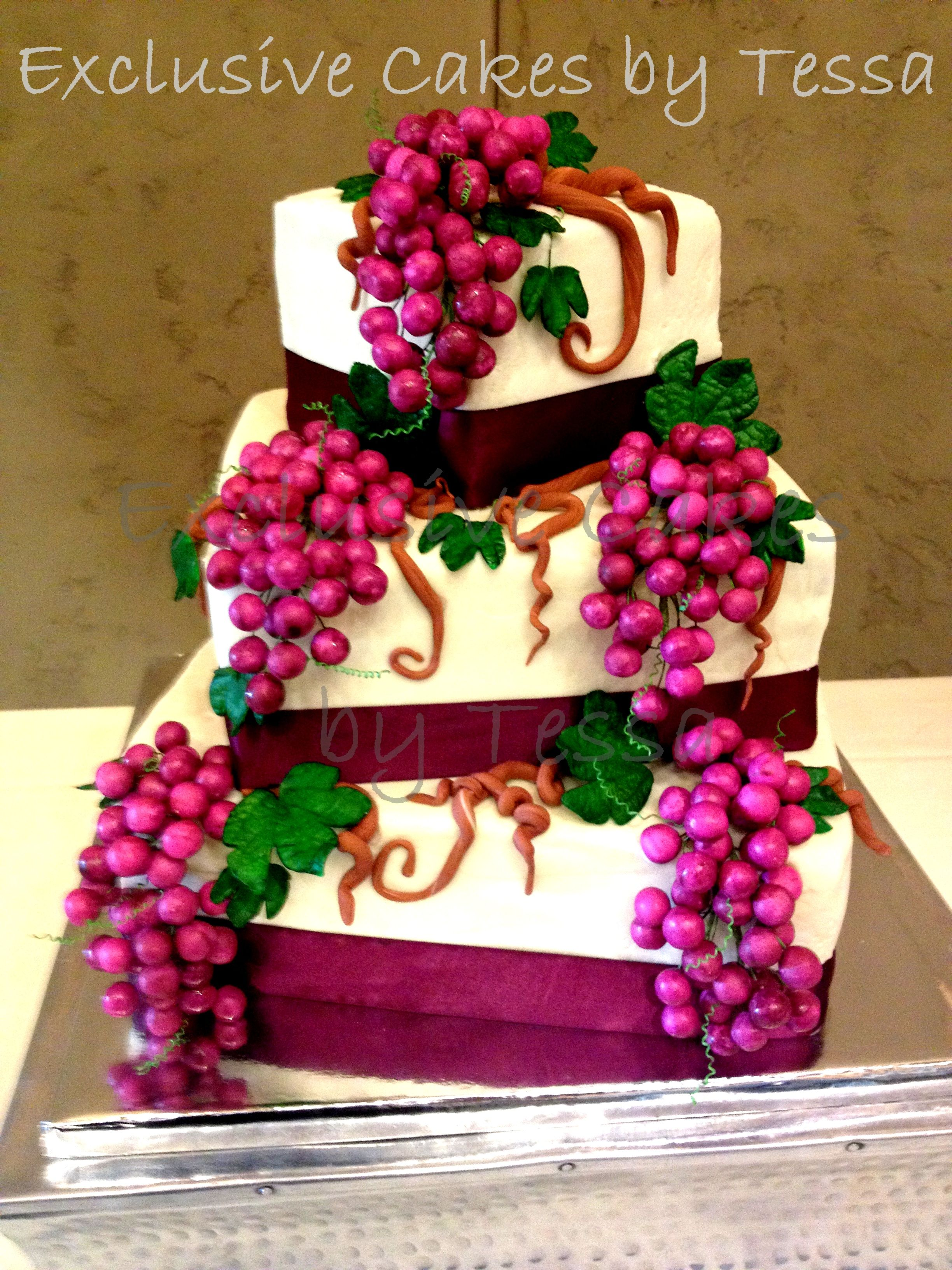 Exclusive Cakes by Tessa Vineyard inspired Wine Grapes wedding cake ...