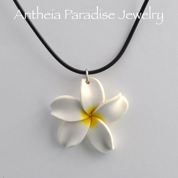 Hawaiian Jewelry - Polymer Clay Plumeria 36mm Flower Black Cord Necklace - White with Yellow Center.