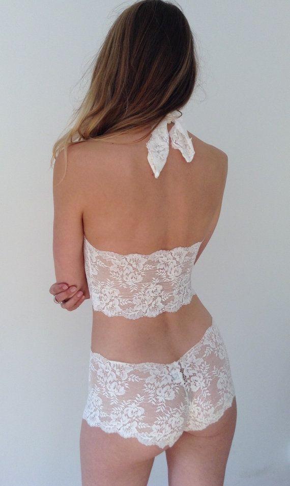 d0aa46943a8 Halter bra bralette lace Lingerie Set Bridal Lingerie Lace underwear ...