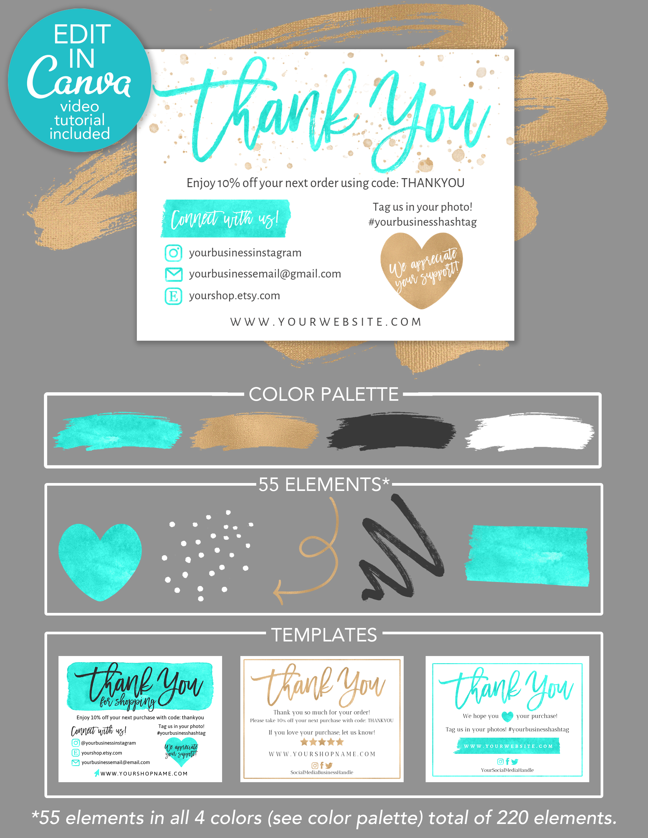 Diy Printable Thank You Card For Your Order Teal Gold Etsy Packaging Ideas Business Business Thank You Cards Small Business Cards