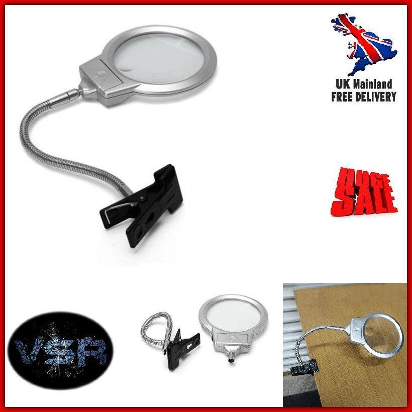 Magnifying Glass Tool Desk Magnifier Large Lens LED Light