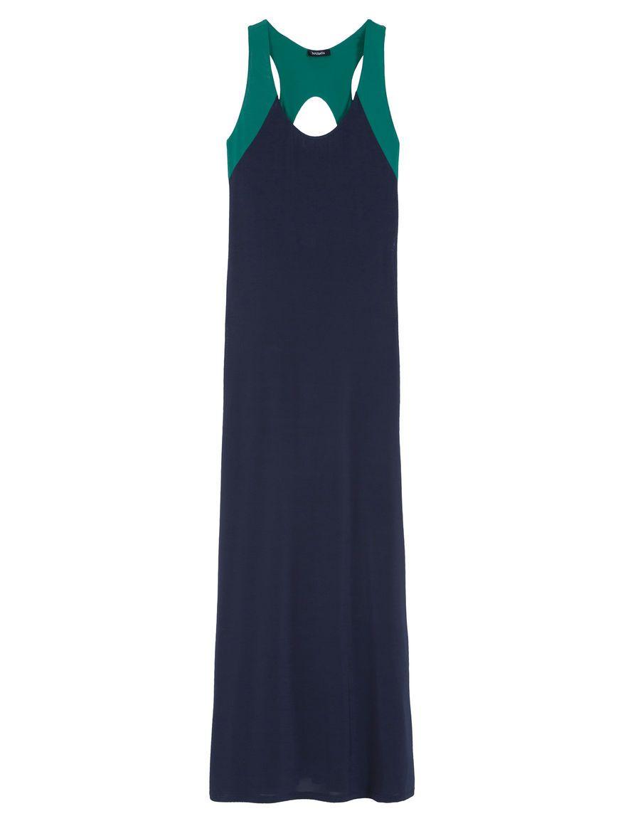 Maxuco long twotone jersey dress midnight blue pattern long
