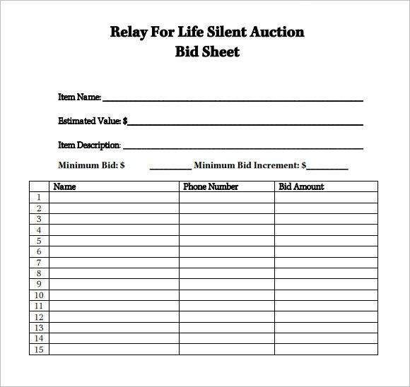 Relay_For_Life_Silent_Auction PRIDE Pinterest Silent auction - bid sheet template free