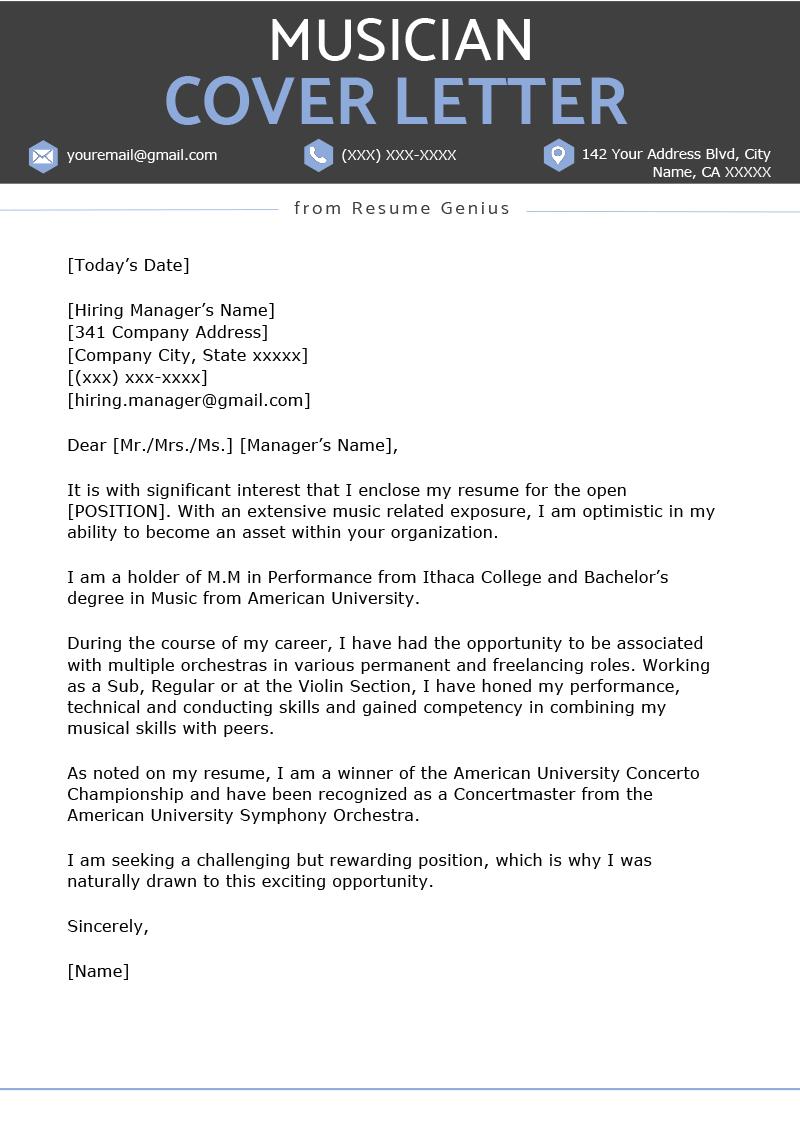 Musician Cover Letter Music Industry Cover Letter Sample