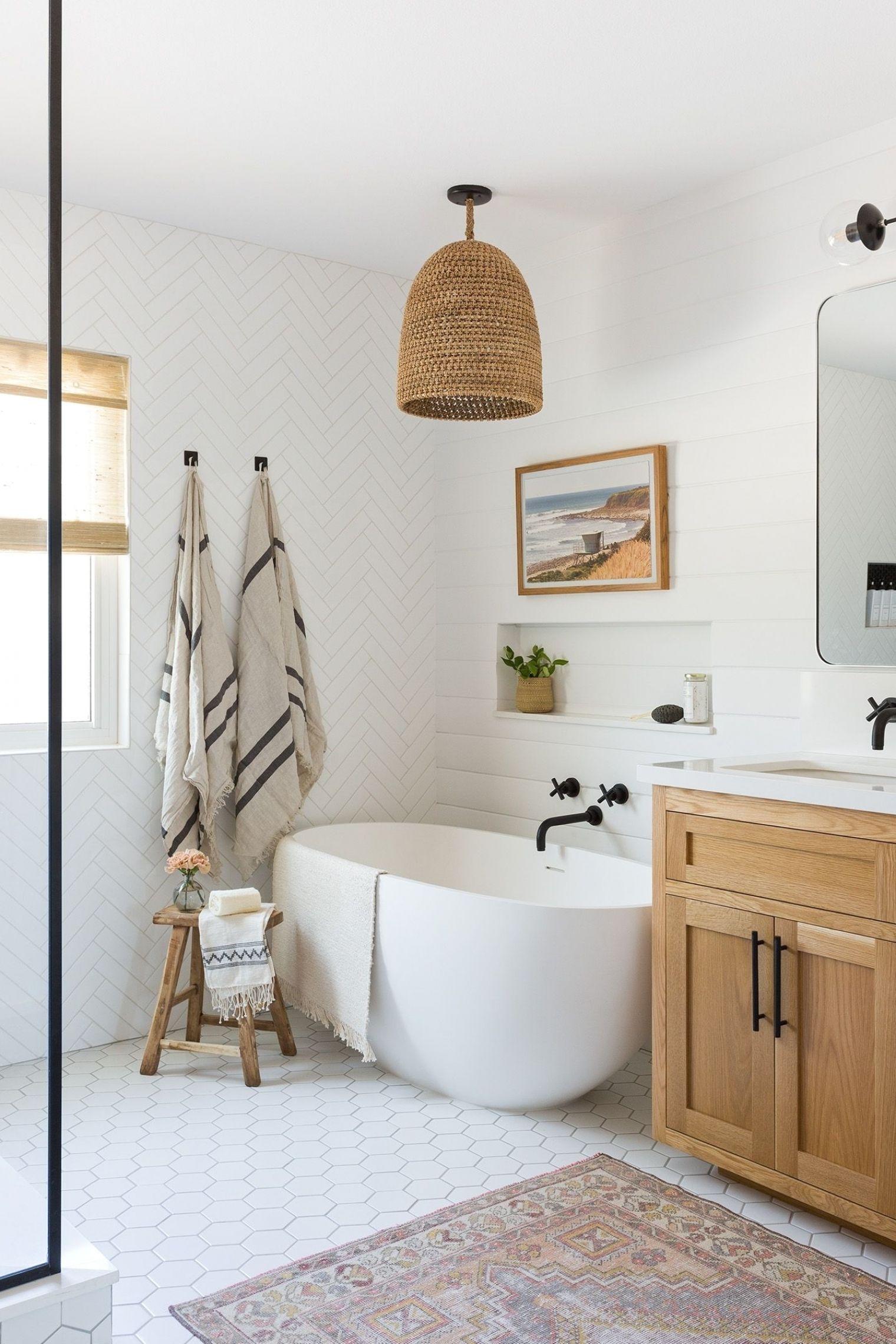 A Large Master Bathroom Designed With Personality Rue Minimalist Bathroom Bathroom Wall Decor Diy Bathroom Decor Master bathroom wall decor
