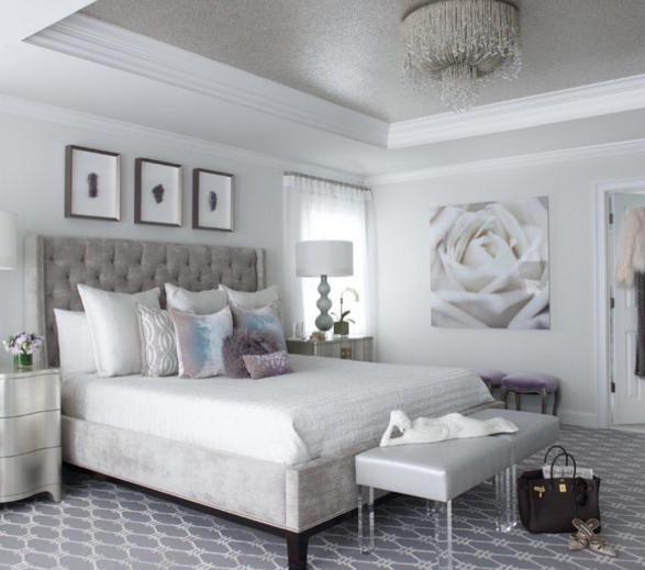 Glam White Bedroom With Grey Tufted Headboard And Acrylic Accents