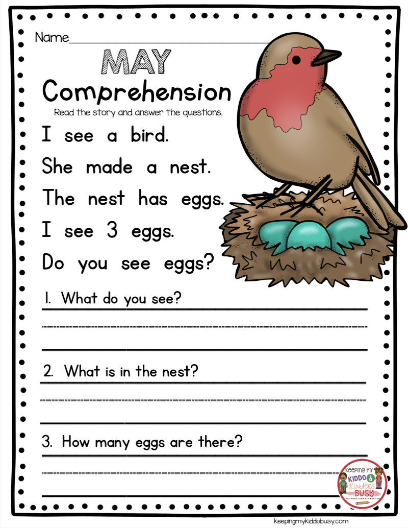 May in Kindergarten - FREEBIES — Keeping My Kiddo Busy   Reading  comprehension kindergarten [ 1034 x 800 Pixel ]