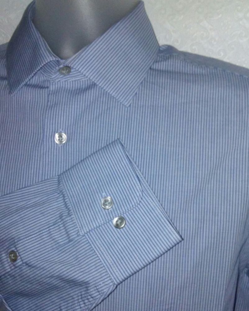 416009db CALVIN KLEIN Blue Striped Dress Shirt Long Sleeve Mens Medium 15-15.5 32/33  #CalvinKlein #ButtonFront