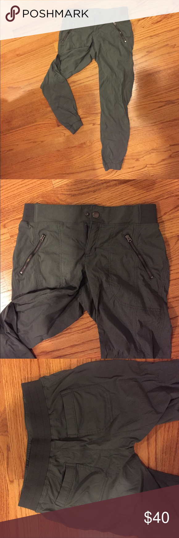 Army green athleta joggers Super comfy and breathable army green joggers. Used but in great condition, just too small on me. Nylon material Athleta Pants Track Pants & Joggers