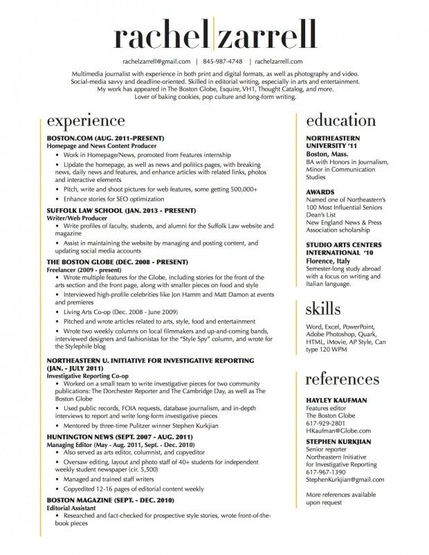 Beautiful resume layout, two-column (No reference section- I like - columnist resume 2