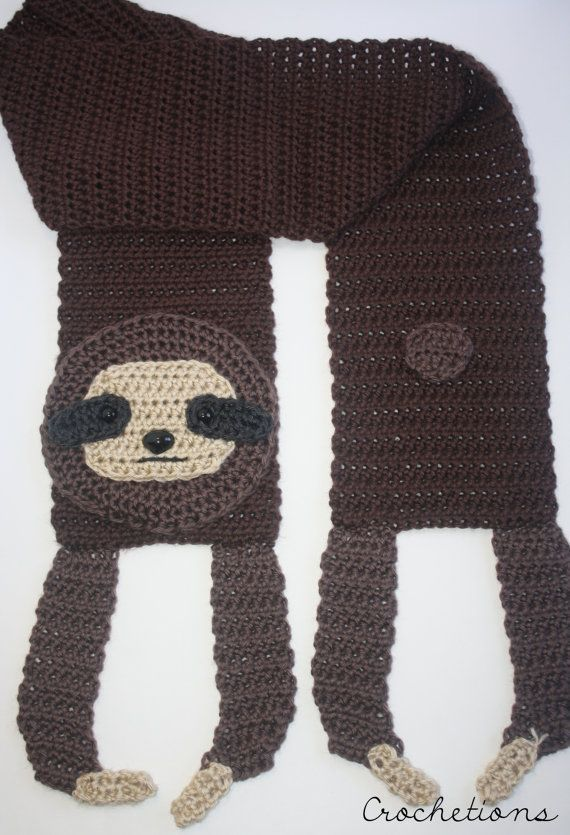 Crochet PATTERN - Sloth Scarf / Animal Scarf, Crochet Animal ...