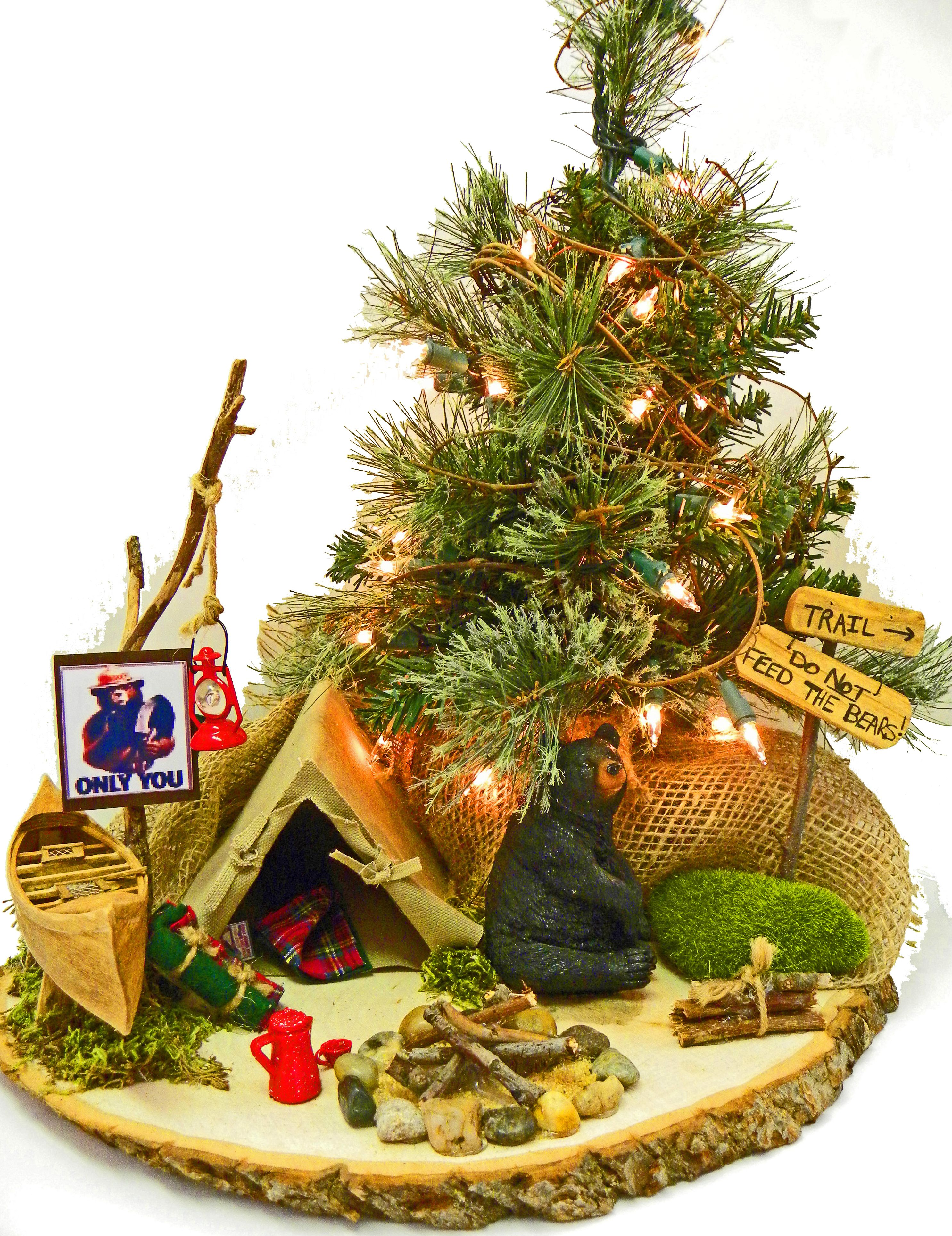 Camping christmas tree ornaments - Camping Tabletop Christmas Tree