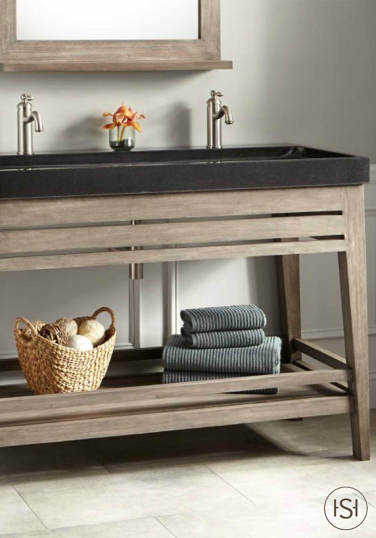 48 Aurelia Vanity With Black Granite Trough Sink Gray Wash Trough Sink Teak Vanity Rustic Bathroom Vanities