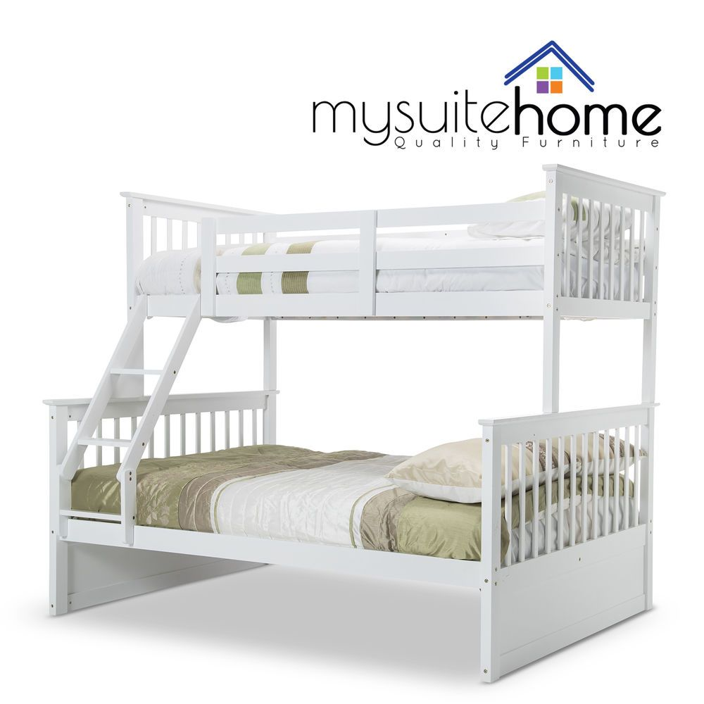 Emma Solid Timber Kids Single On Double Childrens Bunk Bed Frame