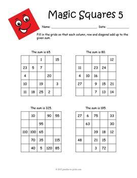 Magic Squares Worksheets Magic Squares Math Magic Squares Printable Math Worksheets