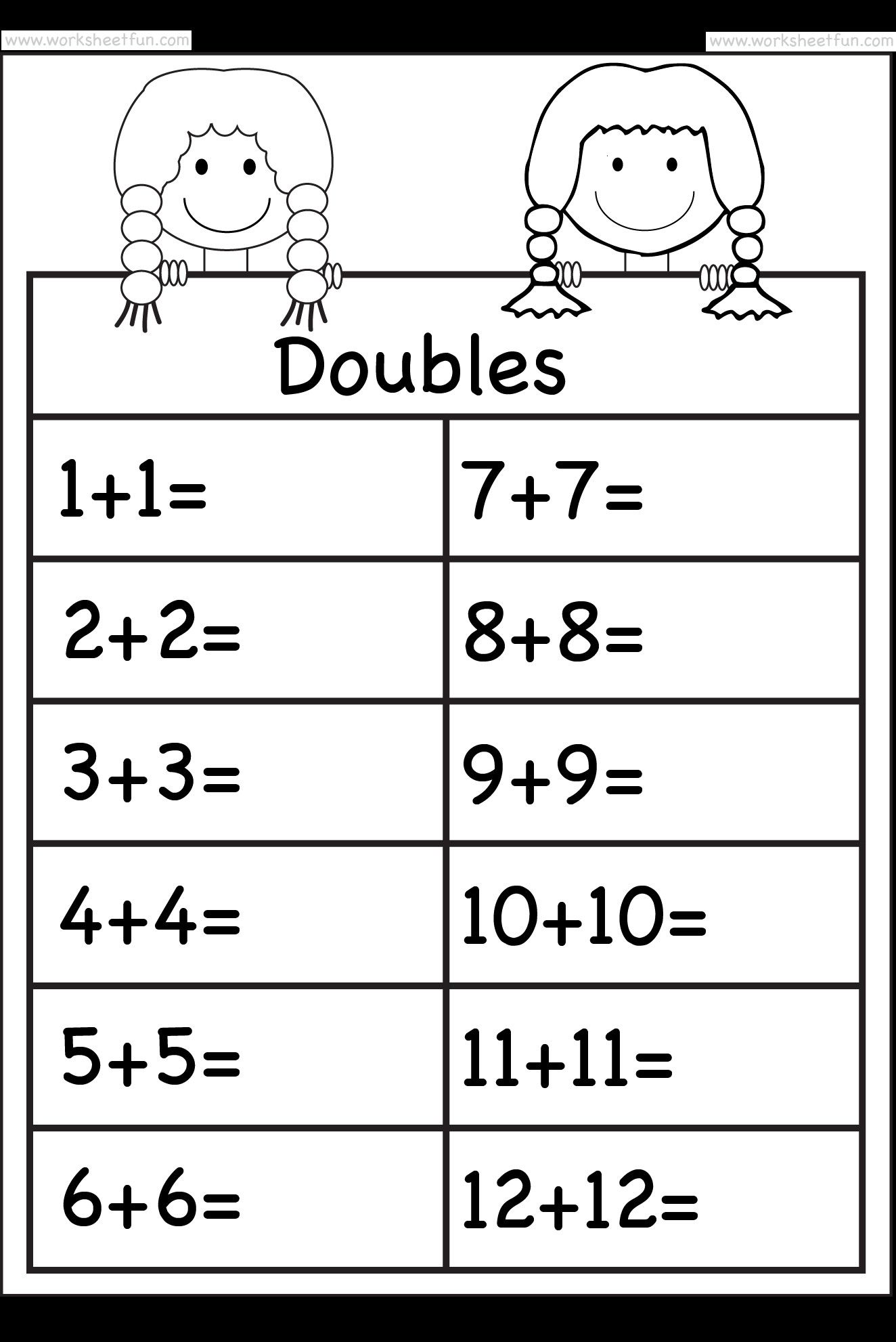 5 Doubles Math Worksheet To 12 In