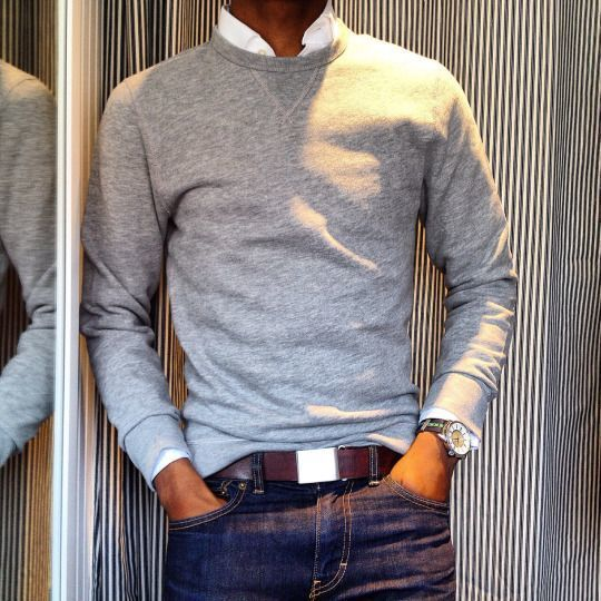 Men 39 s grey crew neck sweater white long sleeve shirt for Crew neck sweater with collared shirt