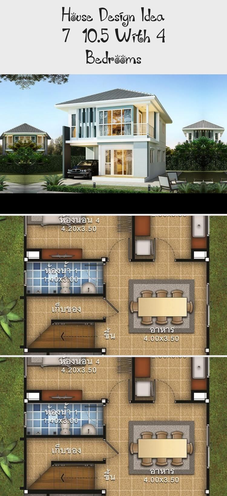 House Design Idea 7 10 5 With 4 Bedrooms Ruby S Blog In 2020 House Design Country House Plans House Styles