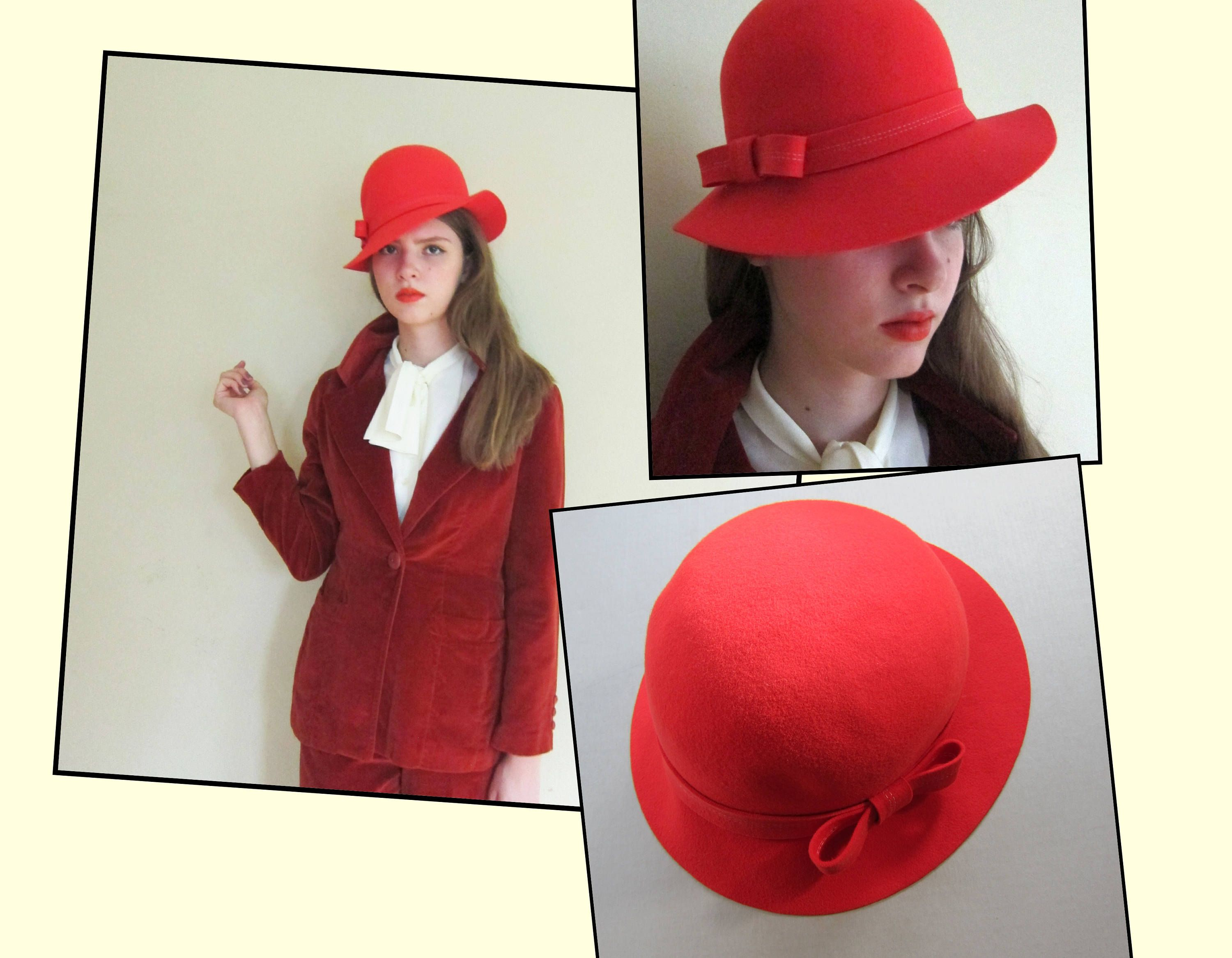 a844fe7ab5d Vintage 1970s Bright Orange Wool Hat   70s Tall Brimmed Hat by Arete by  BasyaBerkman on Etsy