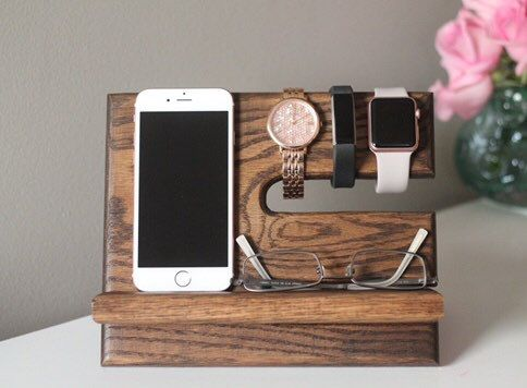 Night Stand Oak Wood Valet Iphone Galaxy Charging Nightstand Dock Graduation Father S Day Birthday For Him