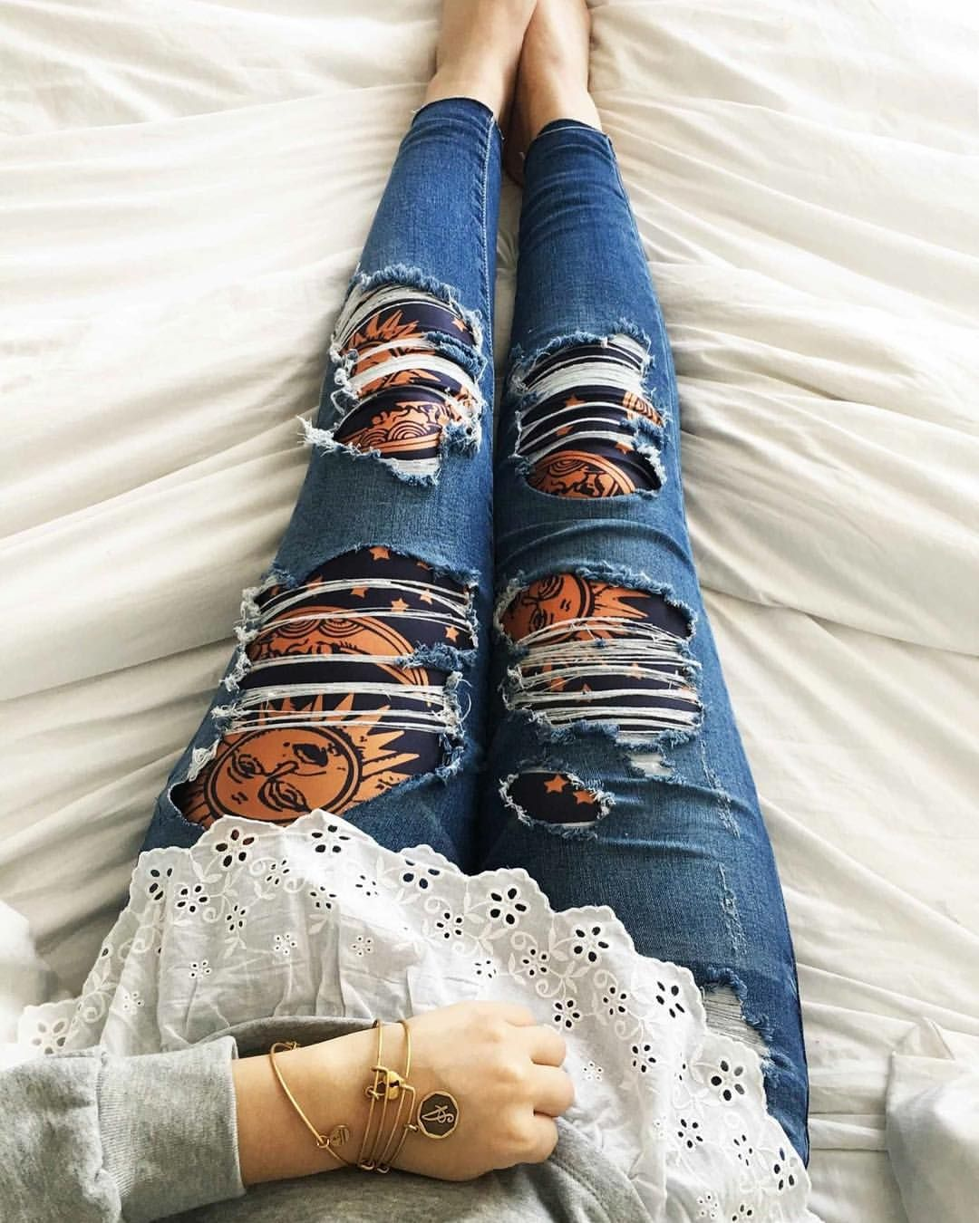 "( blissleggings) on Instagram  ""Leggings under ripped jeans! Looks like  tattoos af94e5ae88"