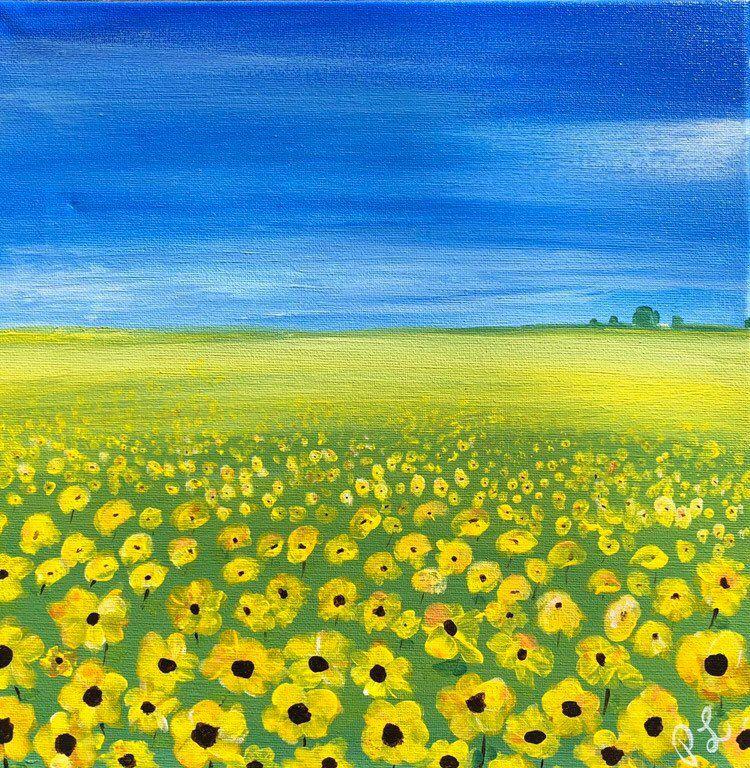 Field Of Yellow Flowers Painting Yellow Decor Scenery Scenery Paintings Yellow Flowers Painting Flower Painting Original