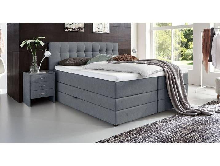 Boxspringbett mit Bettkasten 160×200 cm grau mit Topper – Luciano – BE