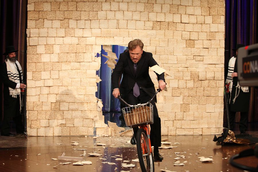 Happy Passover to my family and Jewish friends! Here's a pic of Conan riding a bike through a wall of matzo!