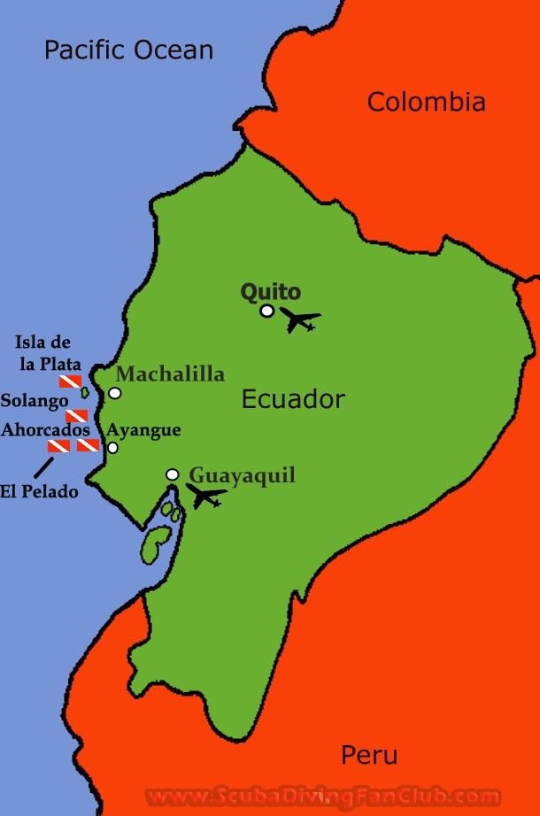 Ecuador diving Map ScubaDivingFanClubs Diving Maps Pinterest