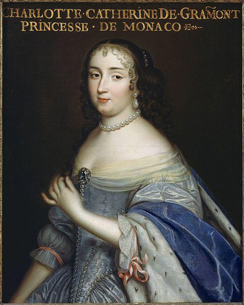 Catherine-Charlotte de Gramont (1638-1678),Princesse de Monaco et dame de Valentinois,ainsi que Maitresse du roi de France Louis XIV.XVIIe siècle,63×52 cm,château de Versailles.Louis XIV,qui commençait à se désintéresser de sa favorite en titre,Louise de la Vallière,entreprend alors une relation de quelques mois avec Catherine en 1665.En vérité,Henriette d'Angleterre espérait que le roi se détournerait de Louise pour qu'il lui revienne,et met en évidence la princesse de Monaco dans ce but.