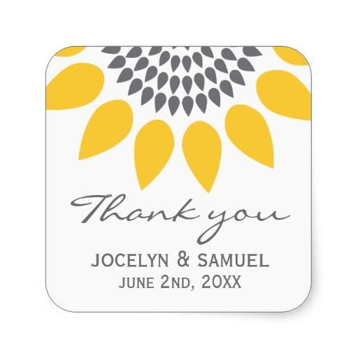 Elegant Sunflower Wedding Favor Stickers