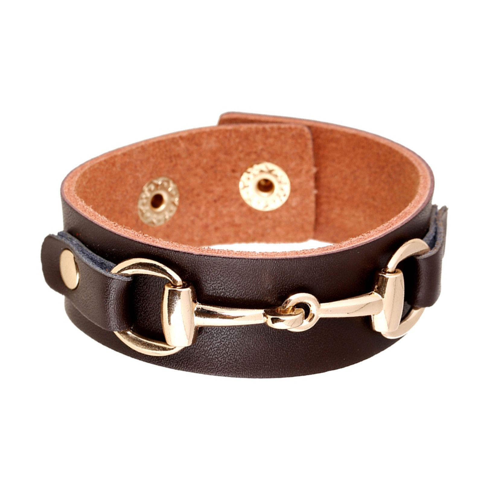 Vintage leather bracelet w gold accent rings products pinterest
